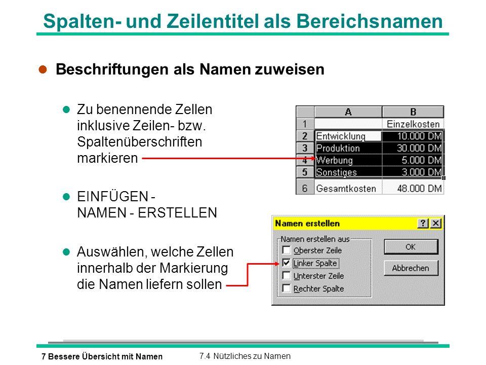 7 Bessere Übersicht mit Namen7.4 Nützliches zu Namen Spalten- und Zeilentitel als Bereichsnamen l Beschriftungen als Namen zuweisen l Zu benennende Zellen inklusive Zeilen- bzw.