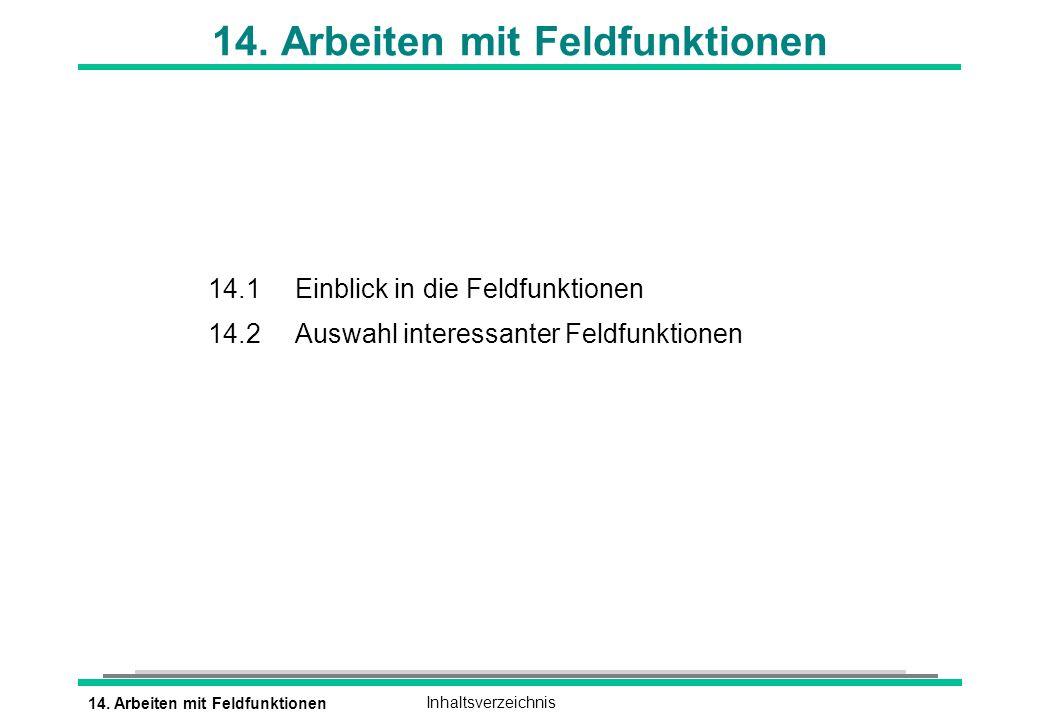 14.Arbeiten mit FeldfunktionenInhaltsverzeichnis 14.