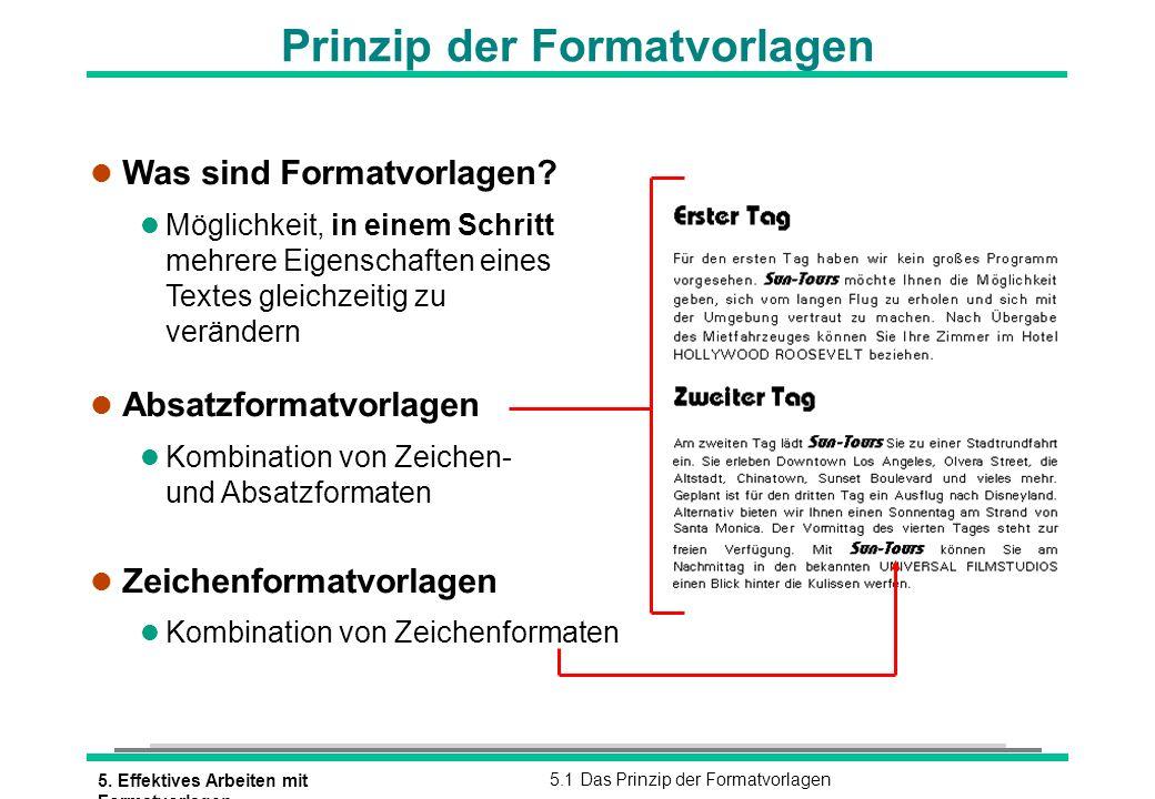 5. Effektives Arbeiten mit Formatvorlagen 5.1 Das Prinzip der Formatvorlagen Prinzip der Formatvorlagen l Was sind Formatvorlagen? l Möglichkeit, in e