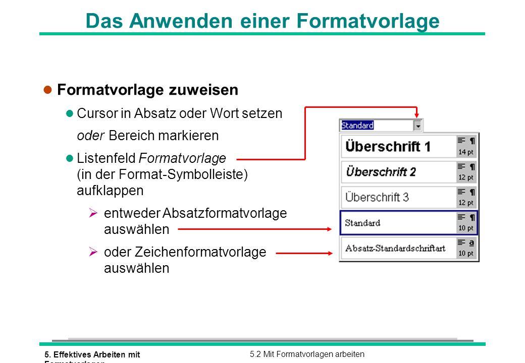 5. Effektives Arbeiten mit Formatvorlagen 5.2 Mit Formatvorlagen arbeiten Das Anwenden einer Formatvorlage l Formatvorlage zuweisen l Cursor in Absatz