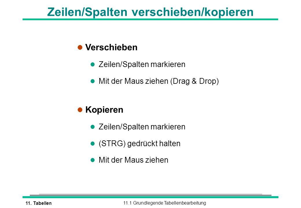 11. Tabellen11.1 Grundlegende Tabellenbearbeitung Zeilen/Spalten verschieben/kopieren l Verschieben l Zeilen/Spalten markieren l Mit der Maus ziehen (
