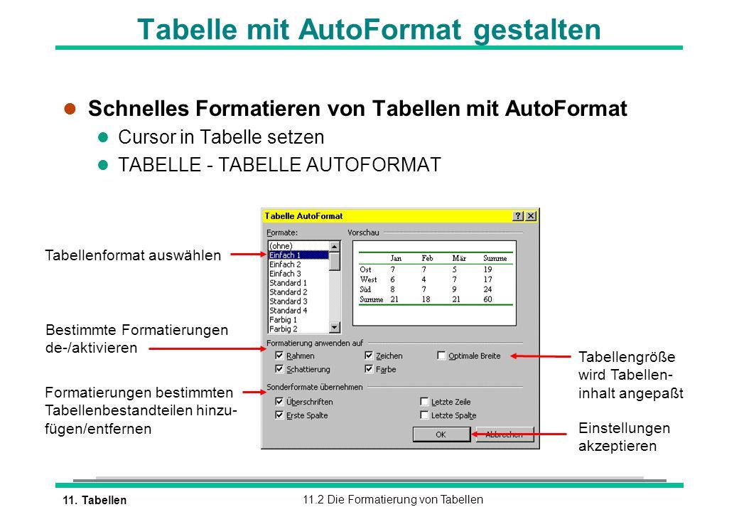 11. Tabellen11.2 Die Formatierung von Tabellen Tabelle mit AutoFormat gestalten l Schnelles Formatieren von Tabellen mit AutoFormat l Cursor in Tabell
