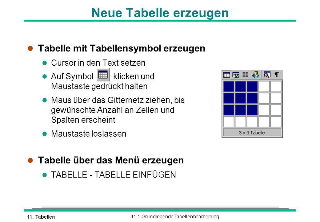 11. Tabellen11.1 Grundlegende Tabellenbearbeitung l Tabelle mit Tabellensymbol erzeugen l Cursor in den Text setzen l Auf Symbol klicken und Maustaste