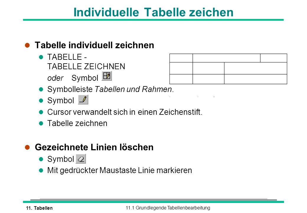 11. Tabellen11.1 Grundlegende Tabellenbearbeitung Individuelle Tabelle zeichen l Tabelle individuell zeichnen l TABELLE - TABELLE ZEICHNEN oderSymbol