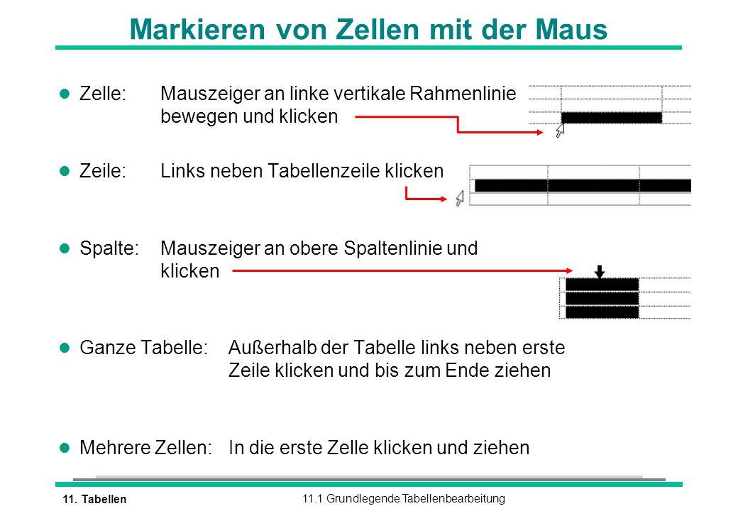 11. Tabellen11.1 Grundlegende Tabellenbearbeitung l Zelle:Mauszeiger an linke vertikale Rahmenlinie bewegen und klicken l Zeile:Links neben Tabellenze