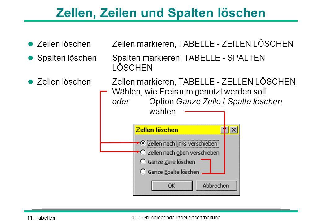 11. Tabellen11.1 Grundlegende Tabellenbearbeitung l Zeilen löschenZeilen markieren, TABELLE - ZEILEN LÖSCHEN l Spalten löschenSpalten markieren, TABEL