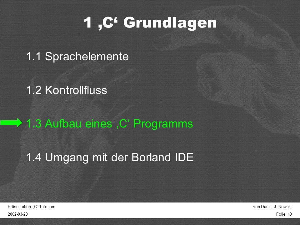 Präsentation C Tutorium von Daniel J. Nowak 2002-03-20 Folie 12 scanf