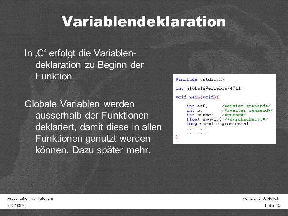 Präsentation C Tutorium von Daniel J.