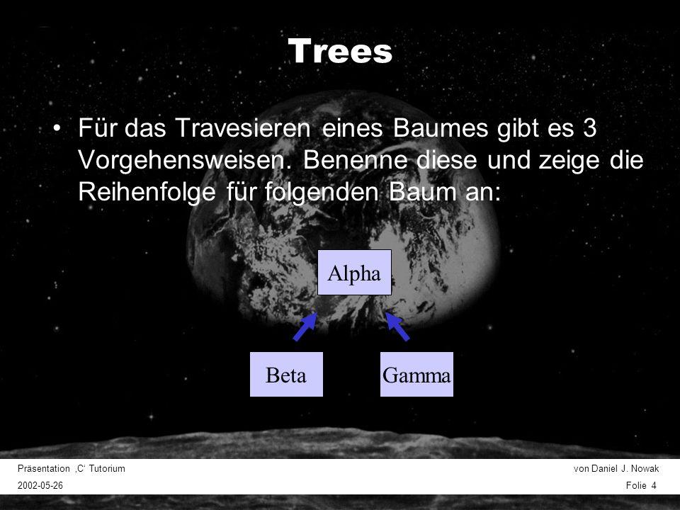 Präsentation C Tutorium von Daniel J. Nowak 2002-05-26 Folie 4 Trees Für das Travesieren eines Baumes gibt es 3 Vorgehensweisen. Benenne diese und zei