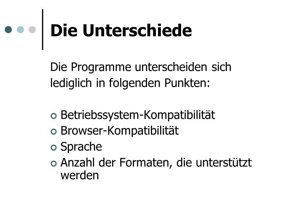 Die Unterschiede Die Programme unterscheiden sich lediglich in folgenden Punkten: Betriebssystem-Kompatibilität Browser-Kompatibilität Sprache Anzahl