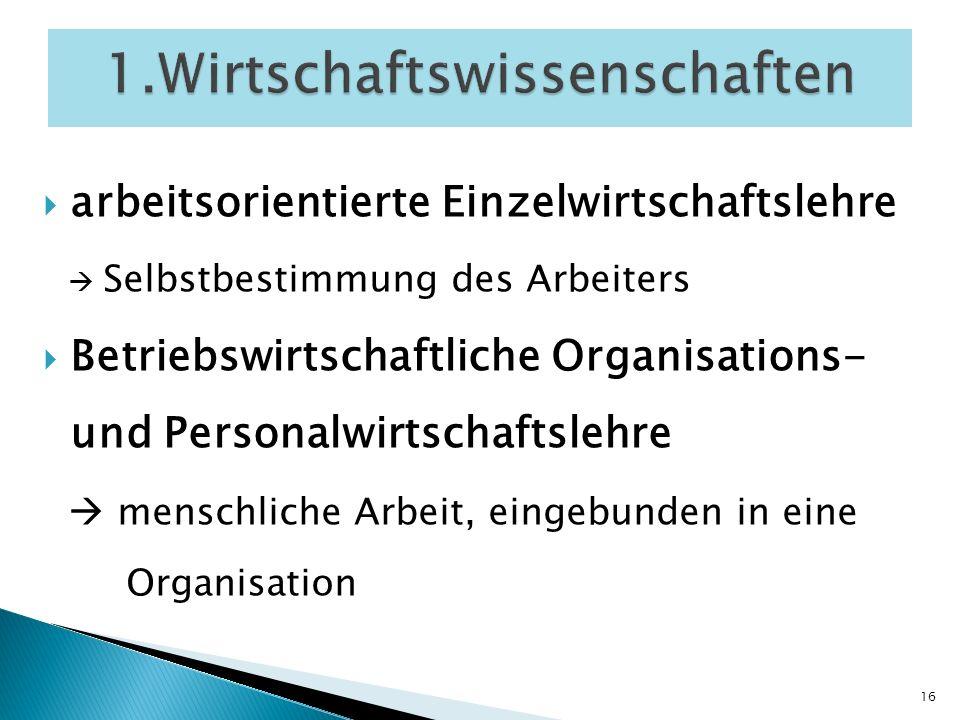 arbeitsorientierte Einzelwirtschaftslehre Selbstbestimmung des Arbeiters Betriebswirtschaftliche Organisations- und Personalwirtschaftslehre menschlic