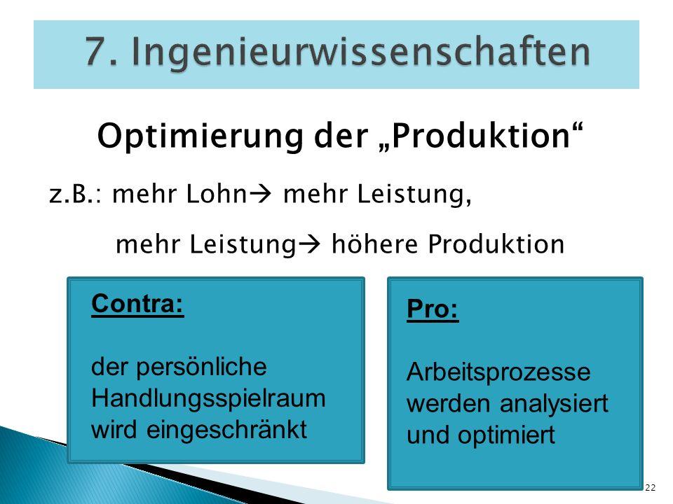 Optimierung der Produktion z.B.: mehr Lohn mehr Leistung, mehr Leistung höhere Produktion 7. Ingenieurwissenschaften 22 Contra: der persönliche Handlu
