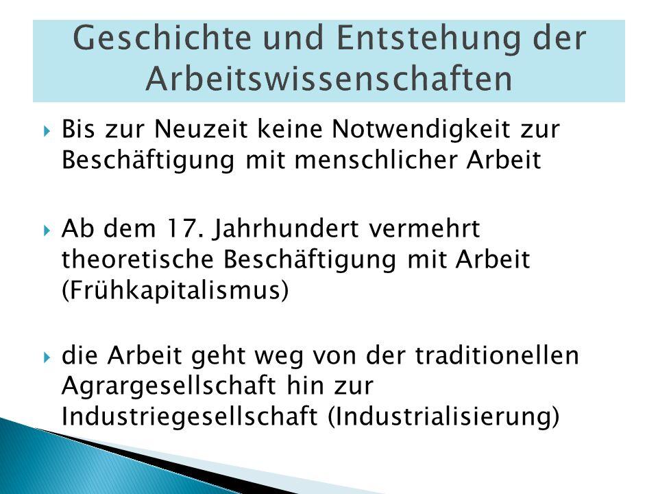 Bis zur Neuzeit keine Notwendigkeit zur Beschäftigung mit menschlicher Arbeit Ab dem 17. Jahrhundert vermehrt theoretische Beschäftigung mit Arbeit (F