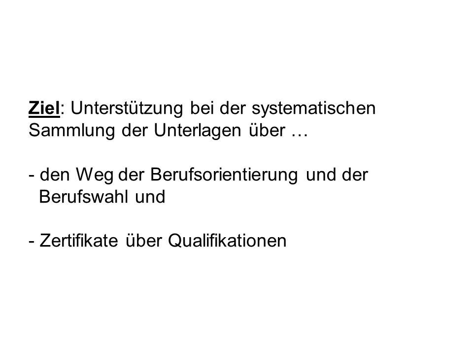 Ziel: Unterstützung bei der systematischen Sammlung der Unterlagen über … - den Weg der Berufsorientierung und der Berufswahl und - Zertifikate über Q