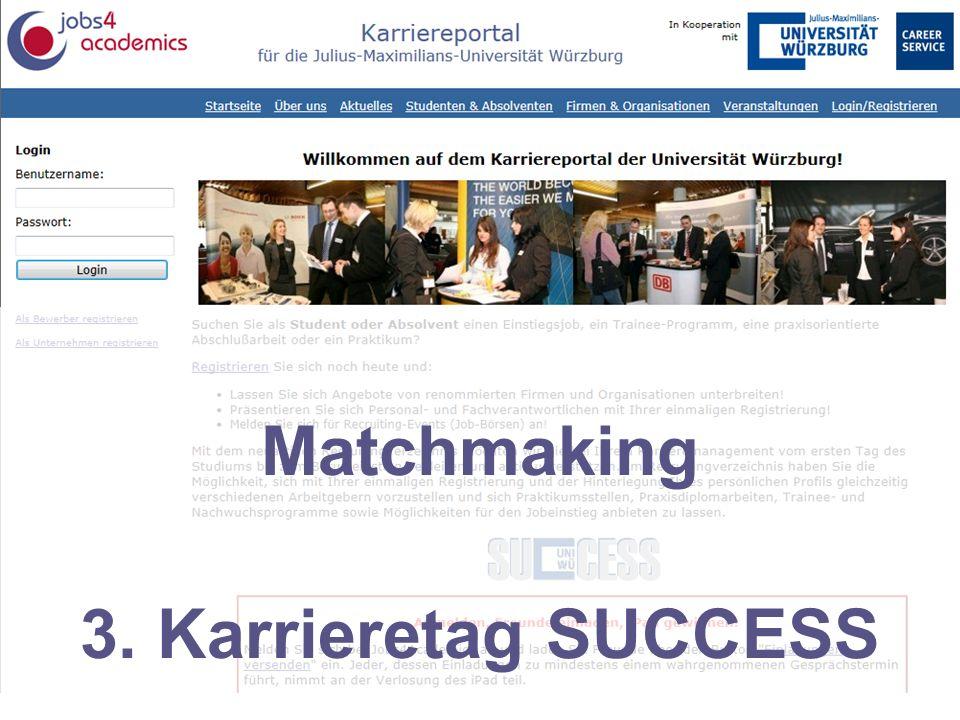 Karriereportal für die Julius-Maximilians-Universität Würzburg Matchmaking 3. Karrieretag SUCCESS