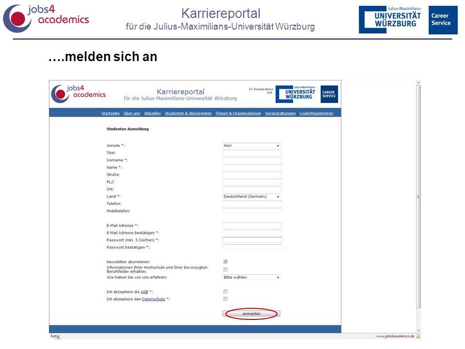 Karriereportal für die Julius-Maximilians-Universität Würzburg ….melden sich an