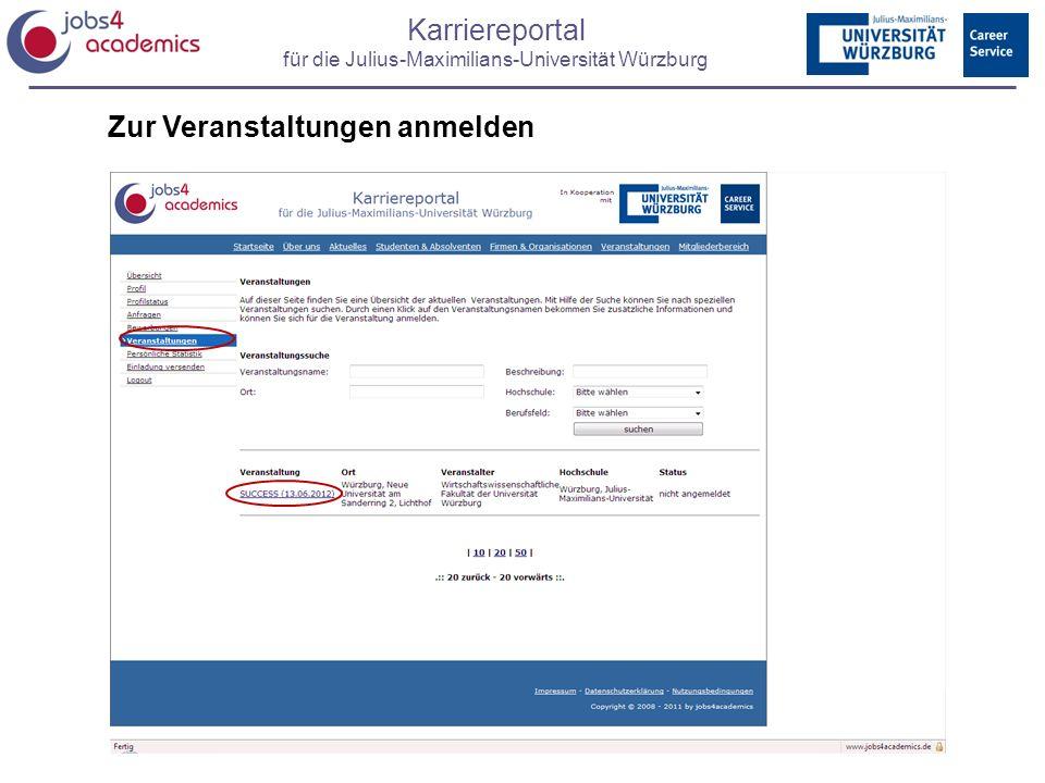 Karriereportal für die Julius-Maximilians-Universität Würzburg Zur Veranstaltungen anmelden