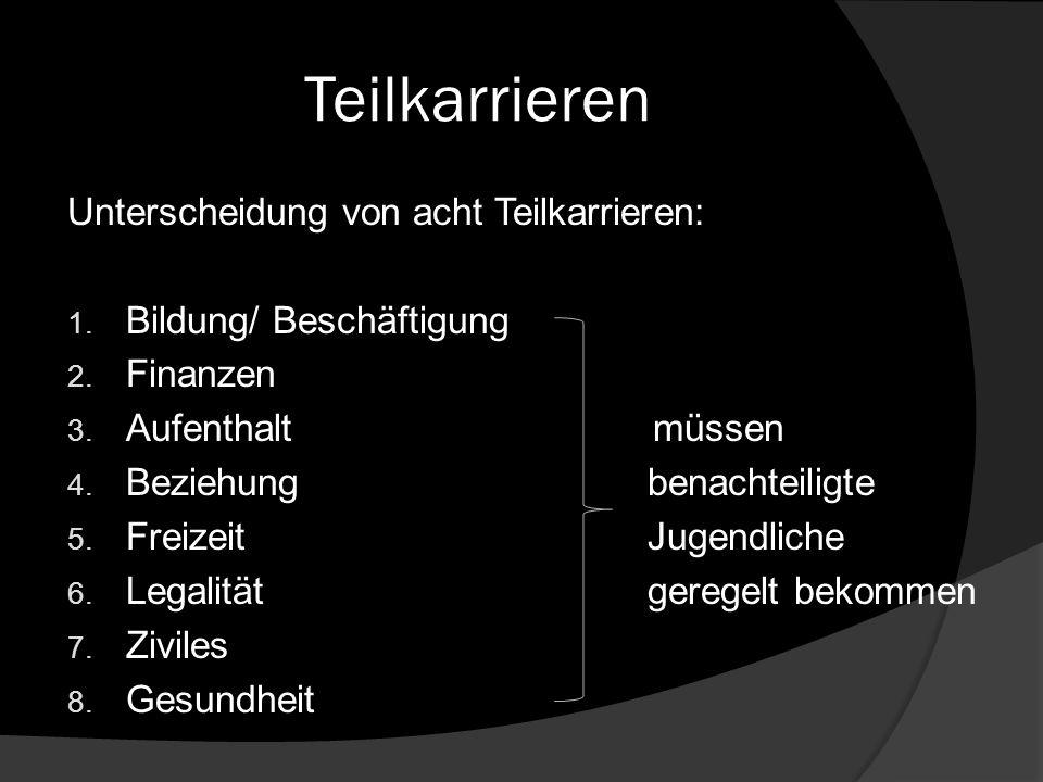 Teilkarrieren Unterscheidung von acht Teilkarrieren: 1. Bildung/ Beschäftigung 2. Finanzen 3. Aufenthalt müssen 4. Beziehung benachteiligte 5. Freizei