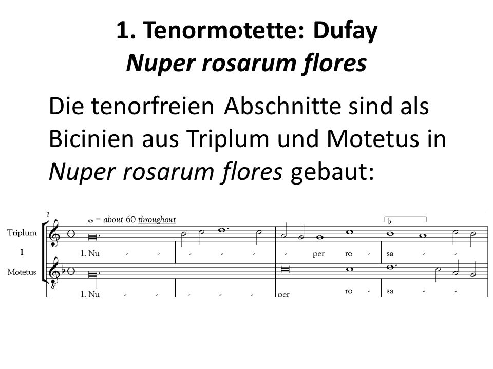 1. Tenormotette: Dufay Nuper rosarum flores Die tenorfreien Abschnitte sind als Bicinien aus Triplum und Motetus in Nuper rosarum flores gebaut: