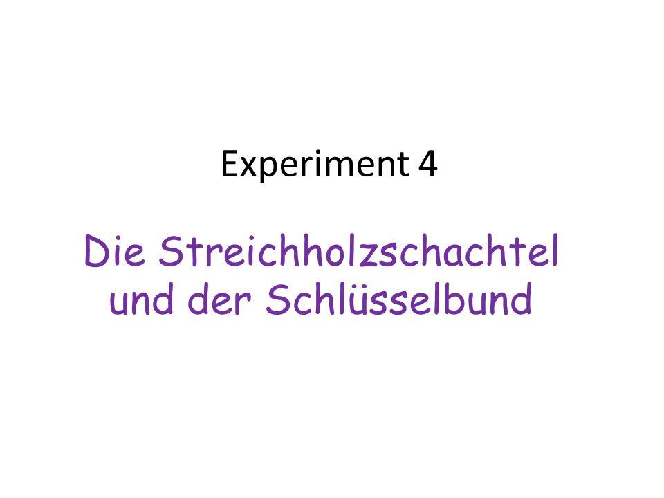 Experiment 4 Die Streichholzschachtel und der Schlüsselbund