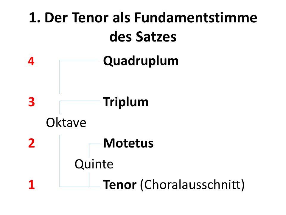 1. Der Tenor als Fundamentstimme des Satzes 4 Quadruplum 3Triplum Oktave 2Motetus Quinte 1Tenor (Choralausschnitt)
