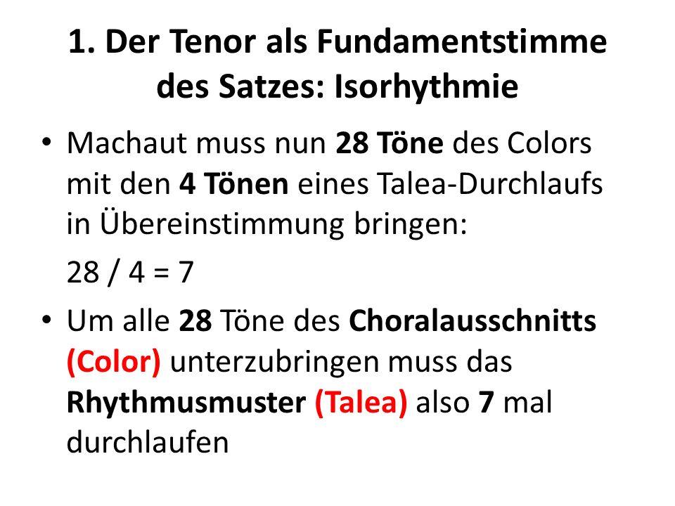 1. Der Tenor als Fundamentstimme des Satzes: Isorhythmie Machaut muss nun 28 Töne des Colors mit den 4 Tönen eines Talea-Durchlaufs in Übereinstimmung