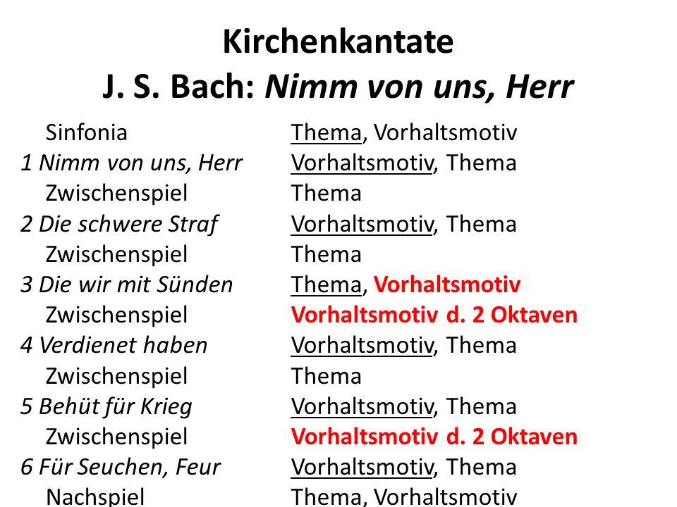 Kirchenkantate J. S. Bach: Nimm von uns, Herr SinfoniaThema, Vorhaltsmotiv 1 Nimm von uns, HerrVorhaltsmotiv, Thema ZwischenspielThema 2 Die schwere S