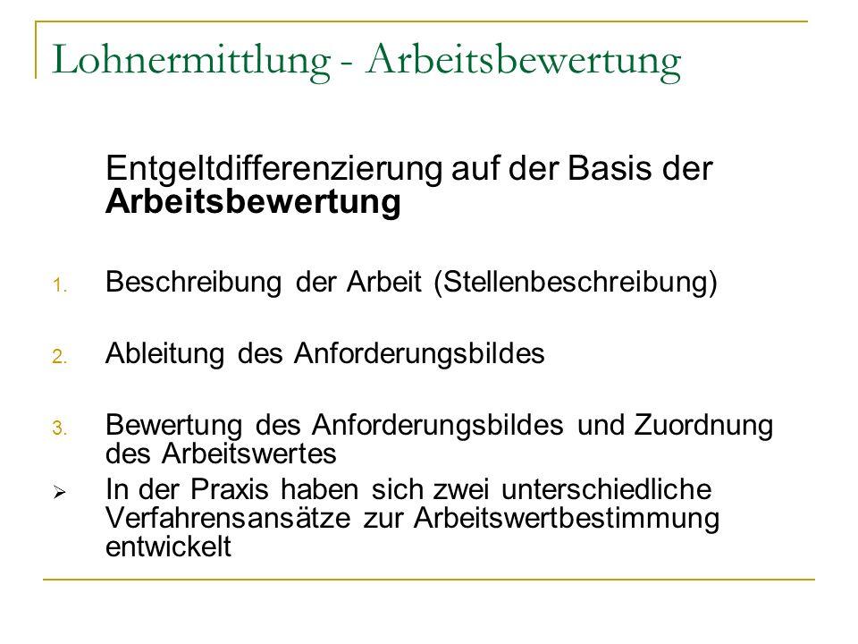 Lohnermittlung - Arbeitsbewertung Entgeltdifferenzierung auf der Basis der Arbeitsbewertung 1. Beschreibung der Arbeit (Stellenbeschreibung) 2. Ableit