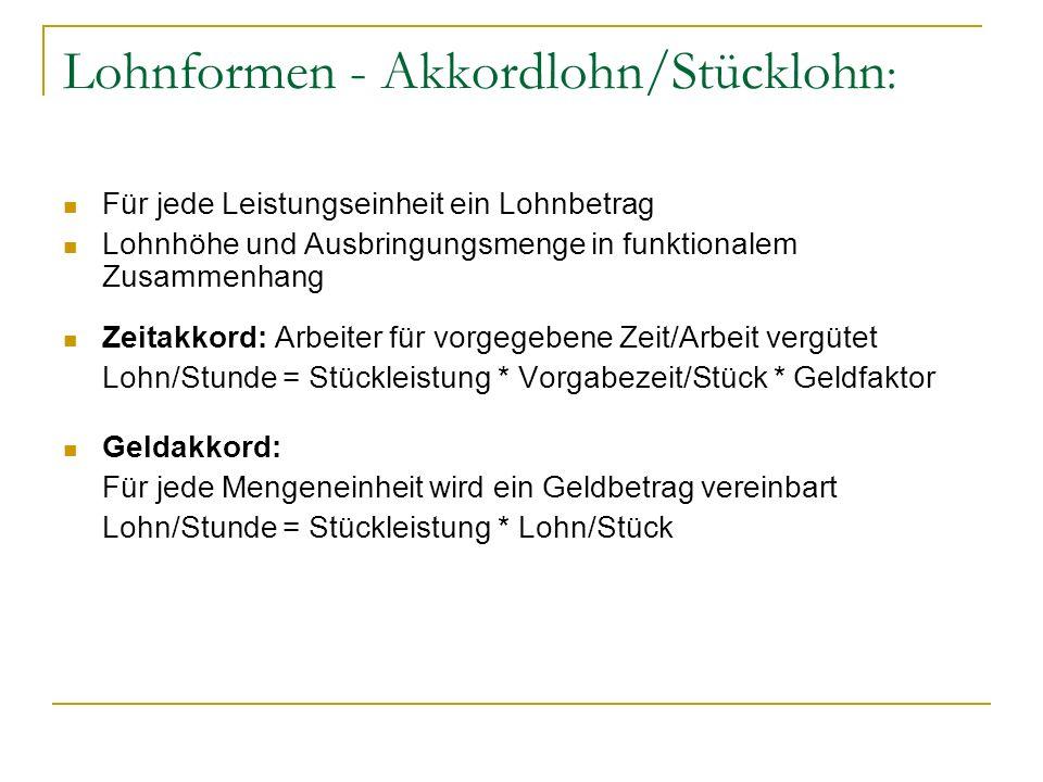 Lohnformen - Akkordlohn/Stücklohn In Deutschland aufgrund von Tarifverträgen meist Proportionalakkord (Luczak 1998, S.