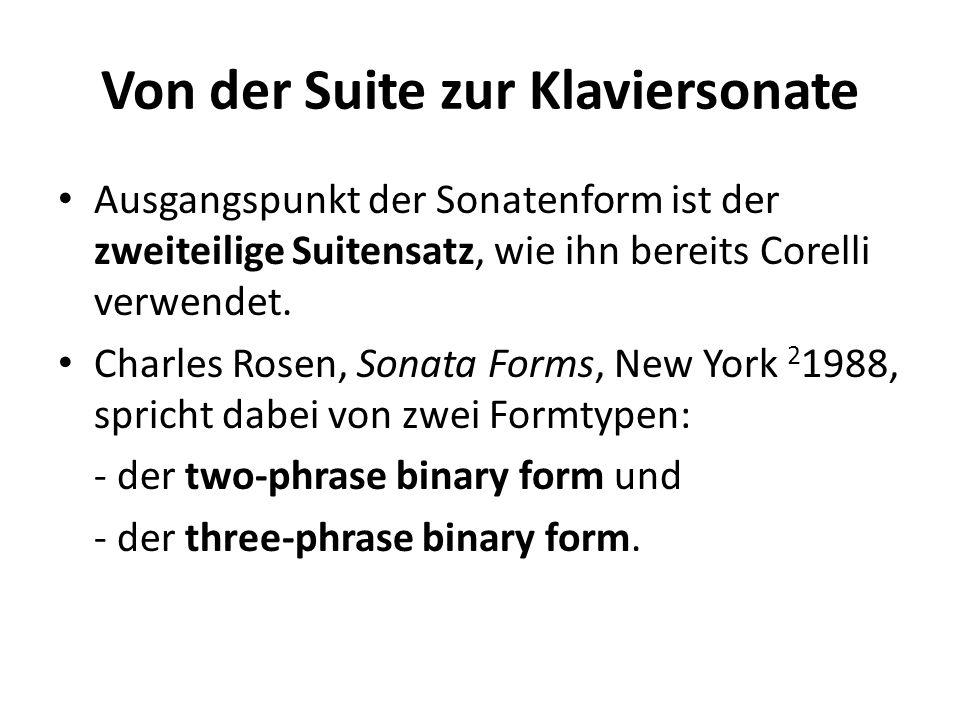Von der Suite zur Klaviersonate Ausgangspunkt der Sonatenform ist der zweiteilige Suitensatz, wie ihn bereits Corelli verwendet. Charles Rosen, Sonata