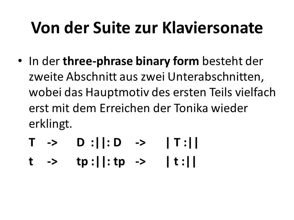 Von der Suite zur Klaviersonate In der three-phrase binary form besteht der zweite Abschnitt aus zwei Unterabschnitten, wobei das Hauptmotiv des erste