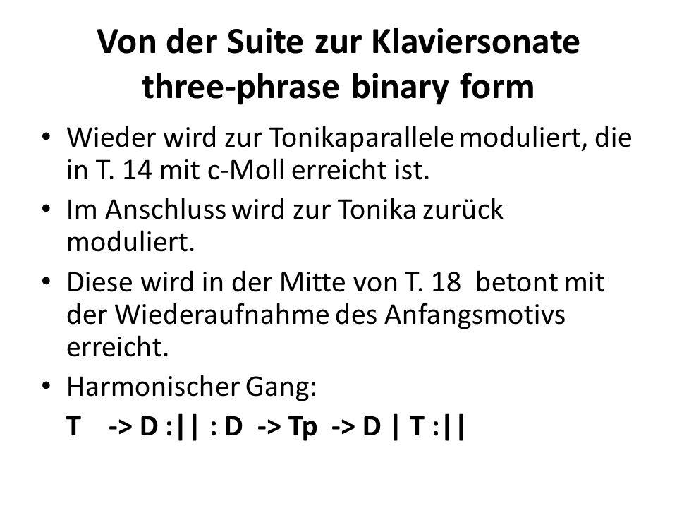 Von der Suite zur Klaviersonate three-phrase binary form Wieder wird zur Tonikaparallele moduliert, die in T. 14 mit c-Moll erreicht ist. Im Anschluss