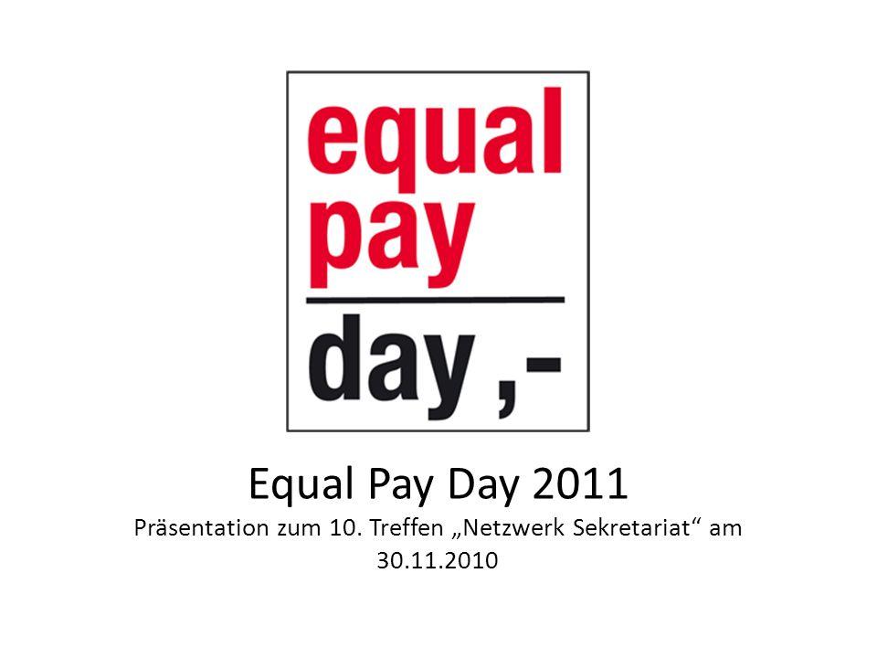 Equal Pay Day 2011 Rollenstereotype Beeinflussung des Berufswahlverhaltens Erwerbsunterbrechungen in den Berufsbiographien von Frauen Aktuelles Steuer- und Sozialversicherungsrecht Förderung der Alleinverdienerehe 10.