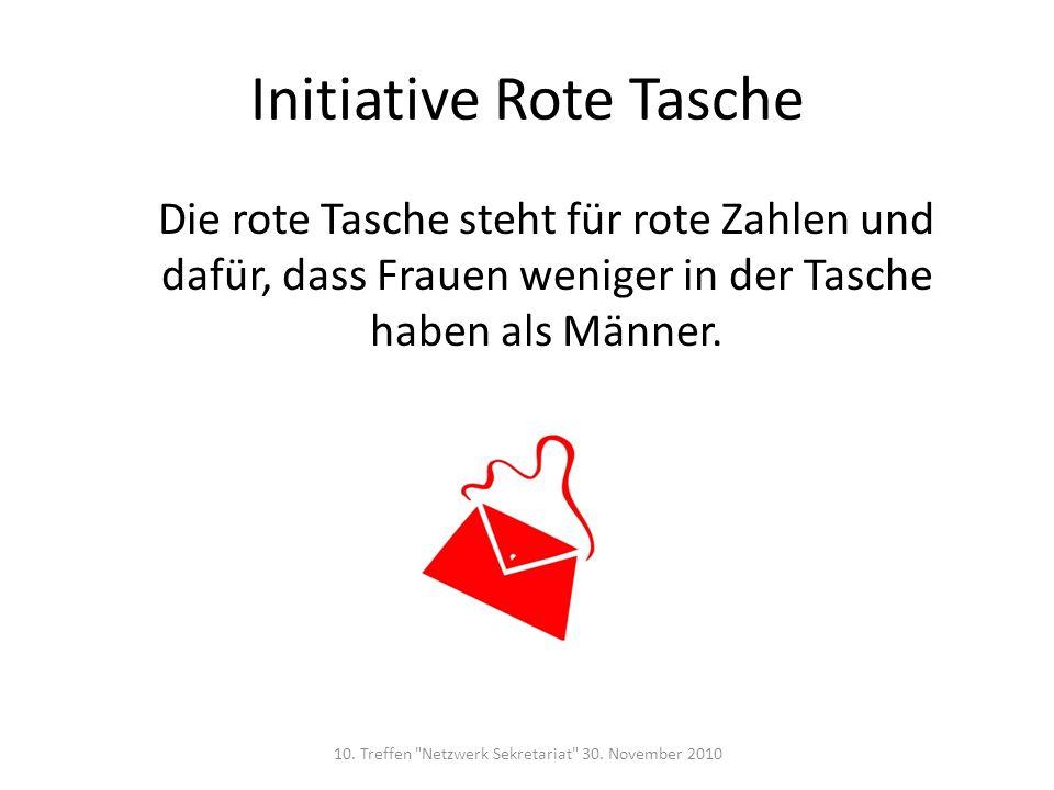 Initiative Rote Tasche Die rote Tasche steht für rote Zahlen und dafür, dass Frauen weniger in der Tasche haben als Männer. 10. Treffen