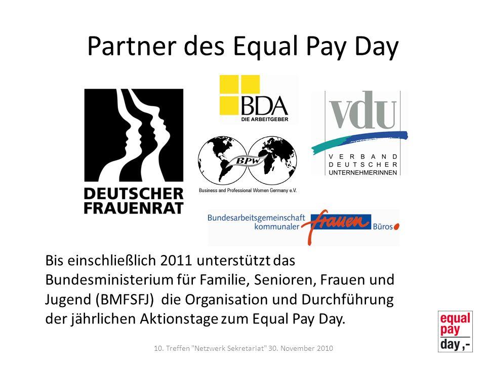 Partner des Equal Pay Day Bis einschließlich 2011 unterstützt das Bundesministerium für Familie, Senioren, Frauen und Jugend (BMFSFJ) die Organisation