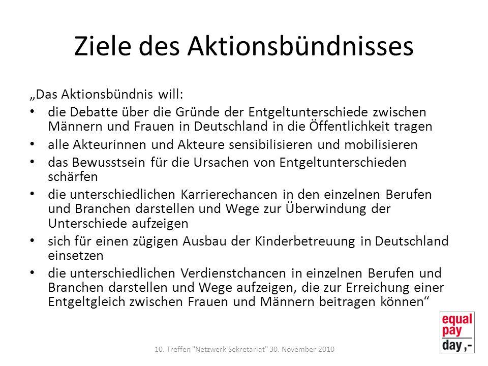 Ziele des Aktionsbündnisses Das Aktionsbündnis will: die Debatte über die Gründe der Entgeltunterschiede zwischen Männern und Frauen in Deutschland in