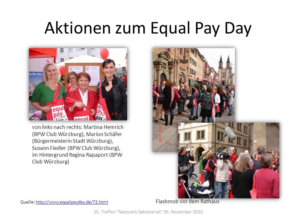 Aktionen zum Equal Pay Day von links nach rechts: Martina Hemrich (BPW Club Würzburg), Marion Schäfer (Bürgermeisterin Stadt Würzburg), Susann Fiedler