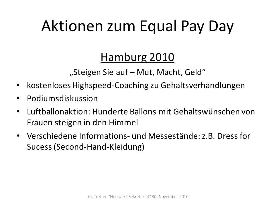 Hamburg 2010 Steigen Sie auf – Mut, Macht, Geld kostenloses Highspeed-Coaching zu Gehaltsverhandlungen Podiumsdiskussion Luftballonaktion: Hunderte Ba