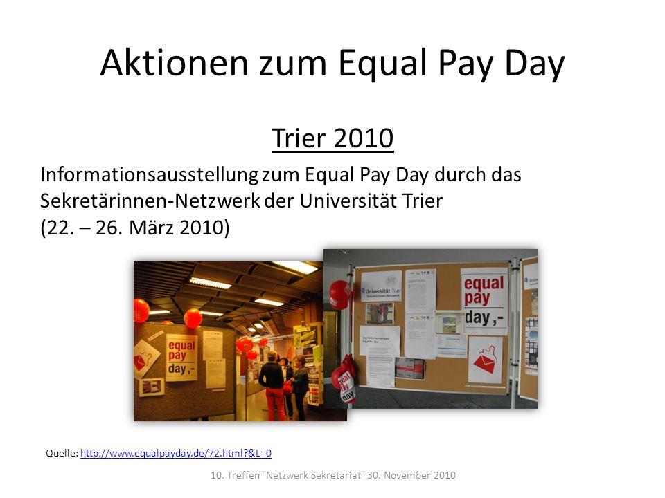Trier 2010 Informationsausstellung zum Equal Pay Day durch das Sekretärinnen-Netzwerk der Universität Trier (22. – 26. März 2010) Aktionen zum Equal P