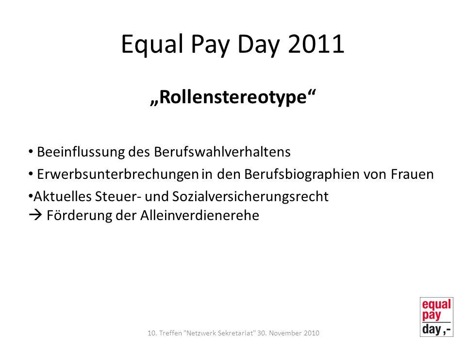 Equal Pay Day 2011 Rollenstereotype Beeinflussung des Berufswahlverhaltens Erwerbsunterbrechungen in den Berufsbiographien von Frauen Aktuelles Steuer