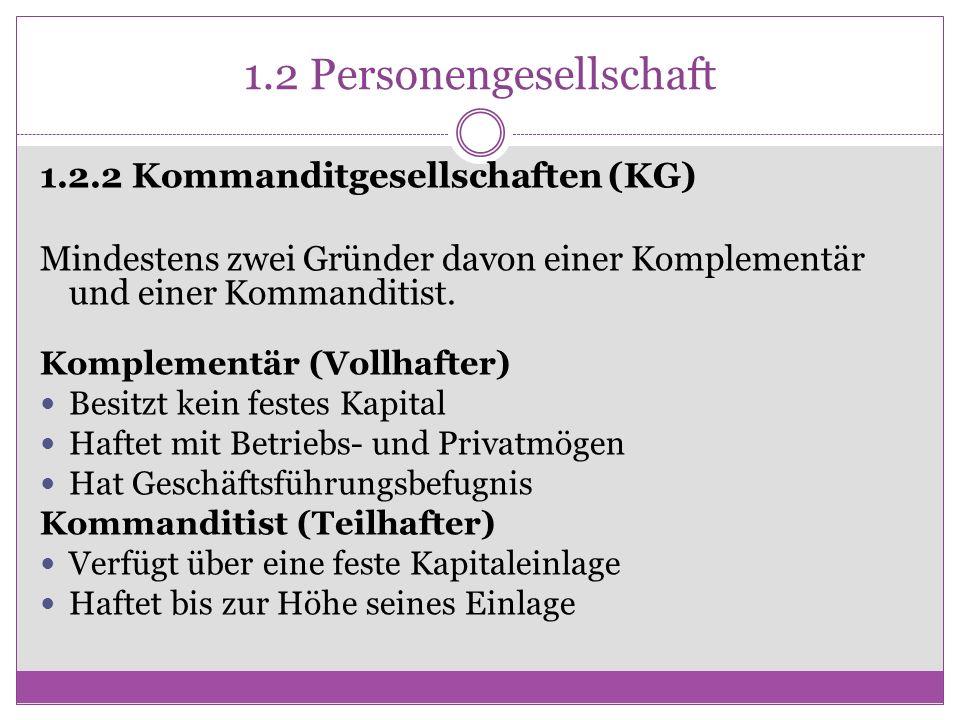 1.2 Personengesellschaft 1.2.2 Kommanditgesellschaften (KG) Mindestens zwei Gründer davon einer Komplementär und einer Kommanditist. Komplementär (Vol