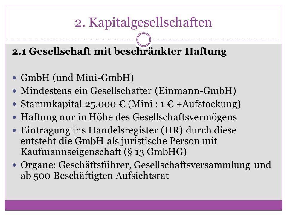 2. Kapitalgesellschaften 2.1 Gesellschaft mit beschränkter Haftung GmbH (und Mini-GmbH) Mindestens ein Gesellschafter (Einmann-GmbH) Stammkapital 25.0