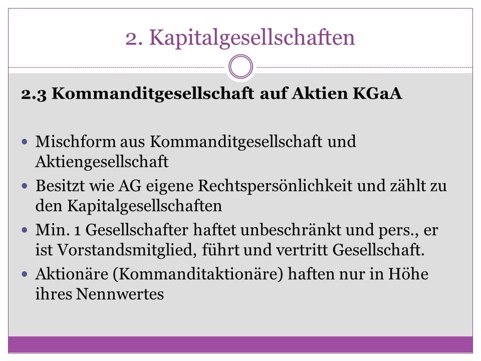 2. Kapitalgesellschaften 2.3 Kommanditgesellschaft auf Aktien KGaA Mischform aus Kommanditgesellschaft und Aktiengesellschaft Besitzt wie AG eigene Re