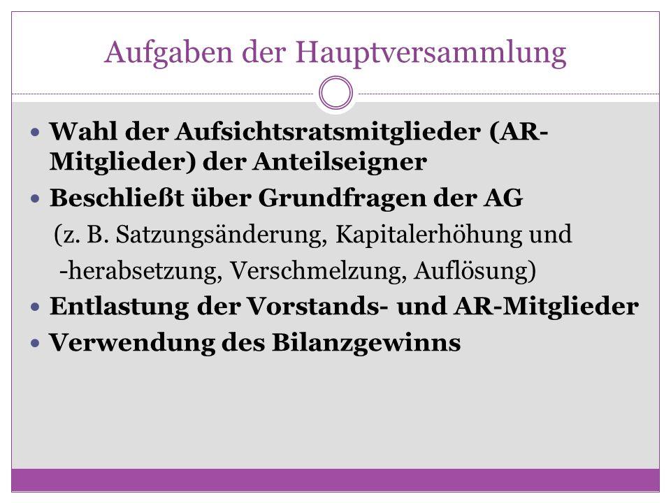 Aufgaben der Hauptversammlung Wahl der Aufsichtsratsmitglieder (AR- Mitglieder) der Anteilseigner Beschließt über Grundfragen der AG (z. B. Satzungsän