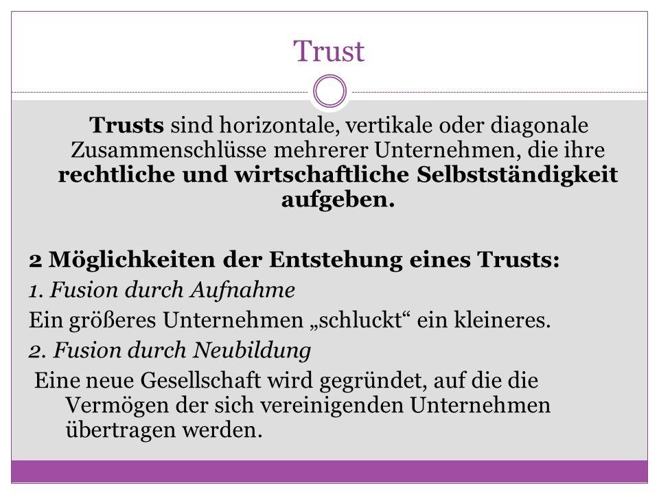 Trust Trusts sind horizontale, vertikale oder diagonale Zusammenschlüsse mehrerer Unternehmen, die ihre rechtliche und wirtschaftliche Selbstständigke