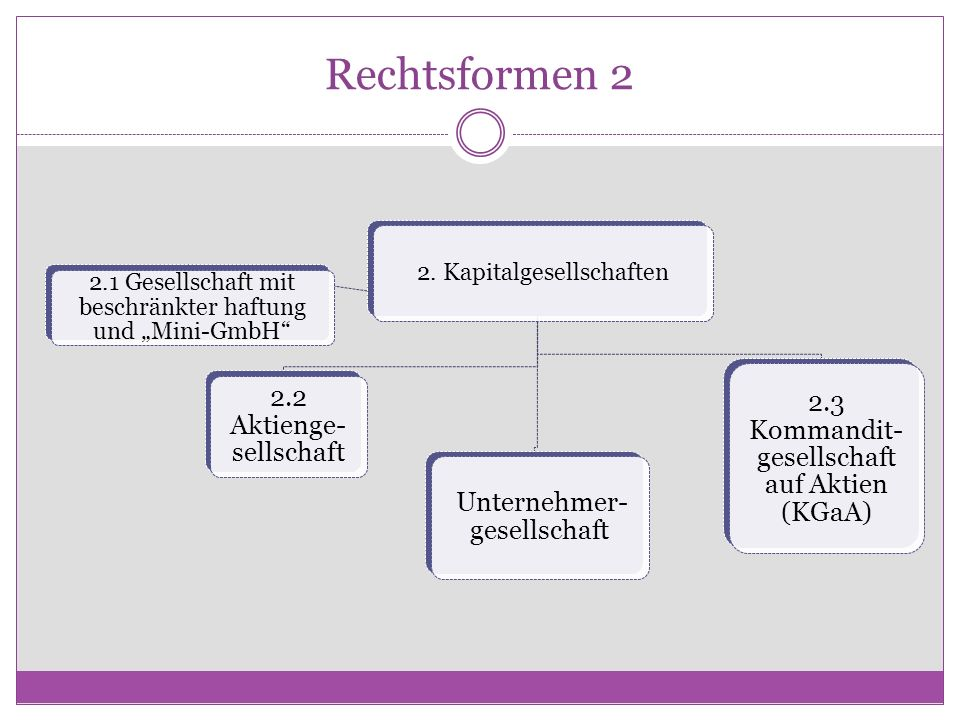 Rechtsformen 2 2. Kapitalgesellschaften 2.1 Gesellschaft mit beschränkter haftung und Mini-GmbH 2.2 Aktienge- sellschaft Unternehmer- gesellschaft 2.3