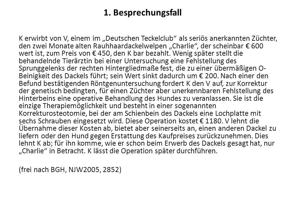 K erwirbt im Juni 2006 von V, einem im Deutschen Teckelclub als seriös anerkannten Züchter, den zwei Monate alten Rauhhaardackelwelpen Charlie, der scheinbar 600 wert ist, zum Preis von 450, den K bar bezahlt.