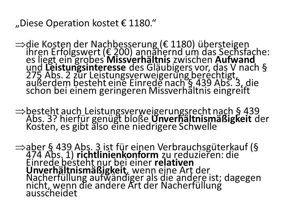 Diese Operation kostet 1180.