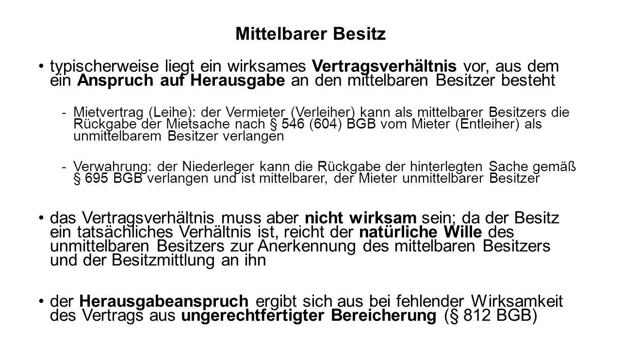 Vorüberlegungen: dingliche Einigung und Übergabe zwischen A und B als Stellvertreter von C gutgläubiger Erwerb durch C: guter Glaube des Stellvertreters (§ 166 Abs.