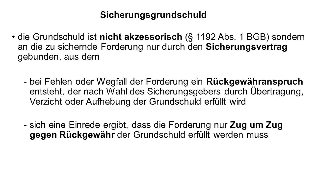 Sicherungsgrundschuld die Grundschuld ist nicht akzessorisch (§ 1192 Abs. 1 BGB) sondern an die zu sichernde Forderung nur durch den Sicherungsvertrag